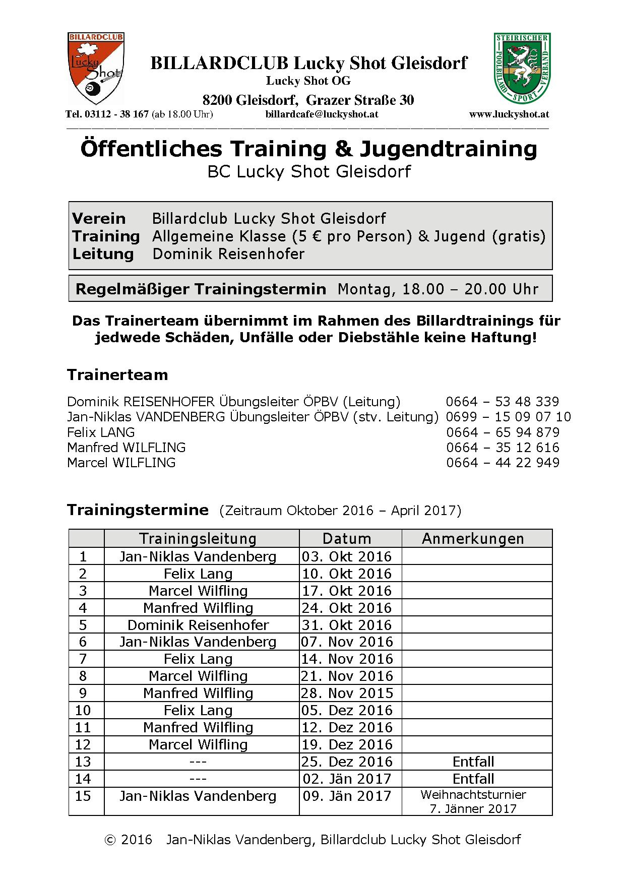 BC Lucky Shot Jugendtraining Dienstplan 4 September 2016 neu
