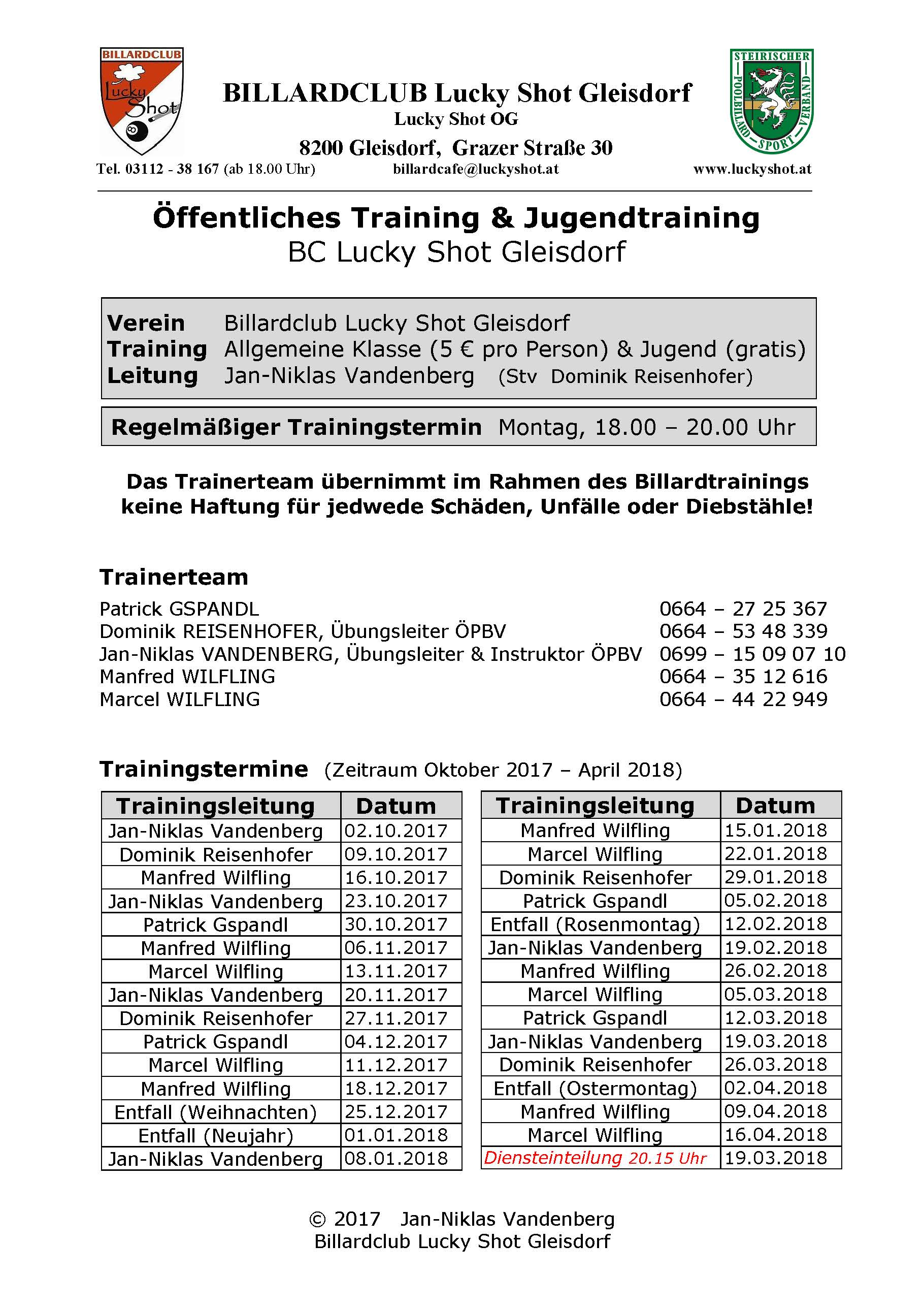 BC Lucky Shot Jugendtraining Dienstplan 6 September 2017